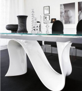 Wave Finished Bent Glass Dining Table Furniture Toronto
