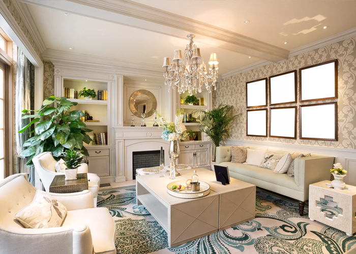 Crystal-chandelier-over-coffee-table